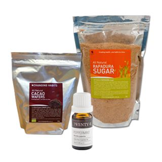 Cacao Peppermint Pack - making your own chocolate at home is a pure healthy indulgence we should all experience! With pure natural Cacao Wafers and Rapadura Sugar all you need is organic cold pressed Coconut Oil and some high quality salt to follow the recipe below. What makes this pack so special is you can add 4 drops of Peppermint oil to give this an exquisite fruity flavour that will have you coming back for more!