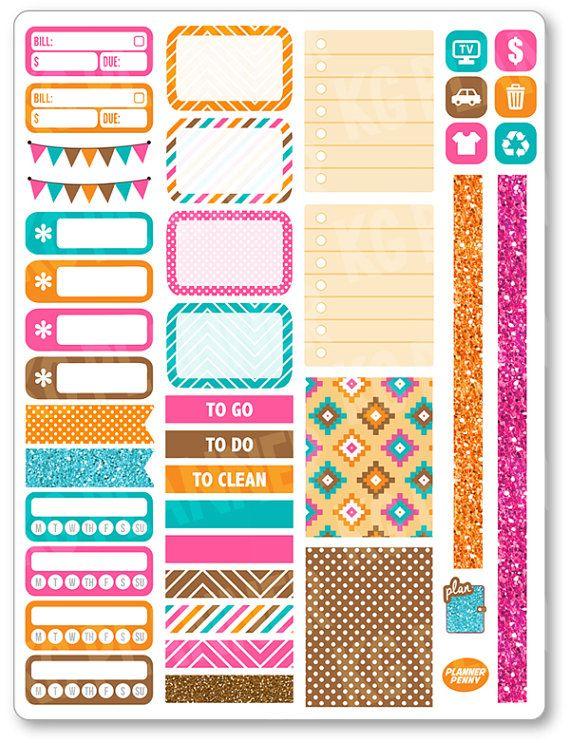Native Functional Kit Planner Stickers for Erin Condren Planner, Filofax, Plum Paper
