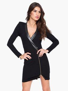 Negro manga larga encantador vestido corto de mujer