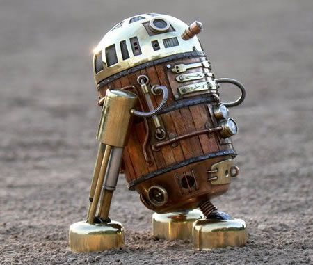 Steampunk version of R2-D2 made from recycled products