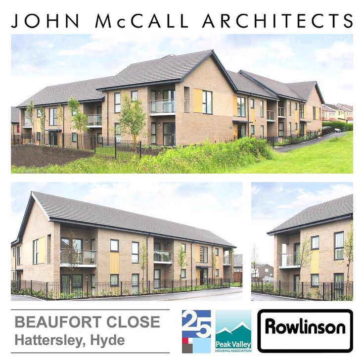 JMA - Beaufort Close. Housing scheme in Hattersley for client Peak Valley Housing. Buff brick and integrated balconies