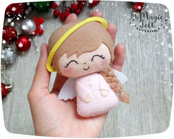 Adornos navideños fieltro Navidad Angel Set de 2 por MyMagicFelt                                                                                                                                                                                 Más