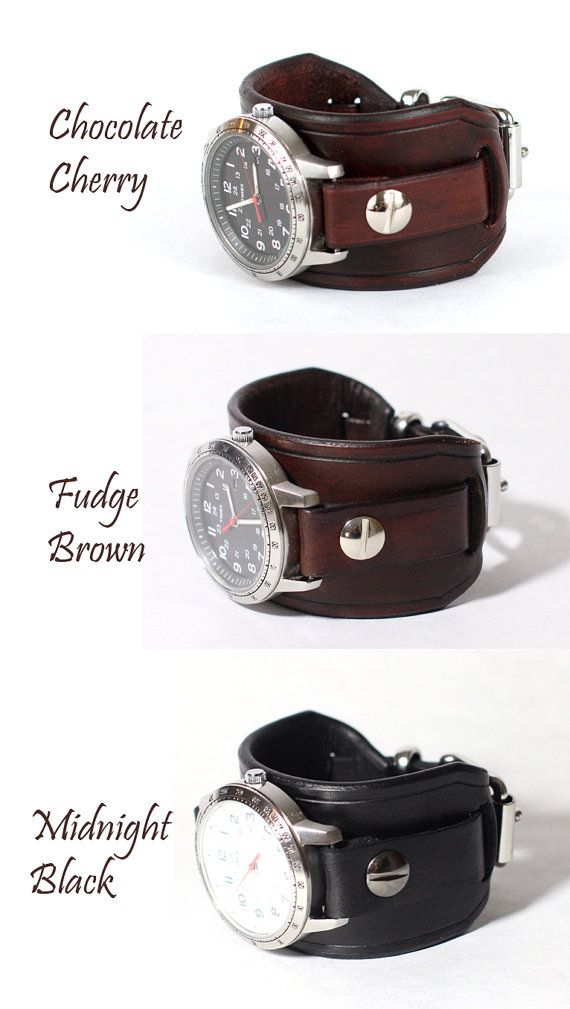 Leather Watch Band Cuff Made to Order by CraftedSteampunk on Etsy