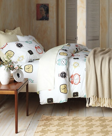 guest room decorating retro clock bedding by garnet hill