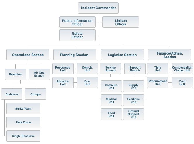 Ics Organization Chart Showing All Parts Of The Command And