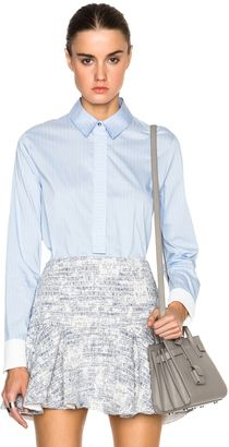 DEREK LAM 10 CROSBY Oxford Shirting Henley with Back Tail - Shop for women's Shirt - Blue Stripe Shirt