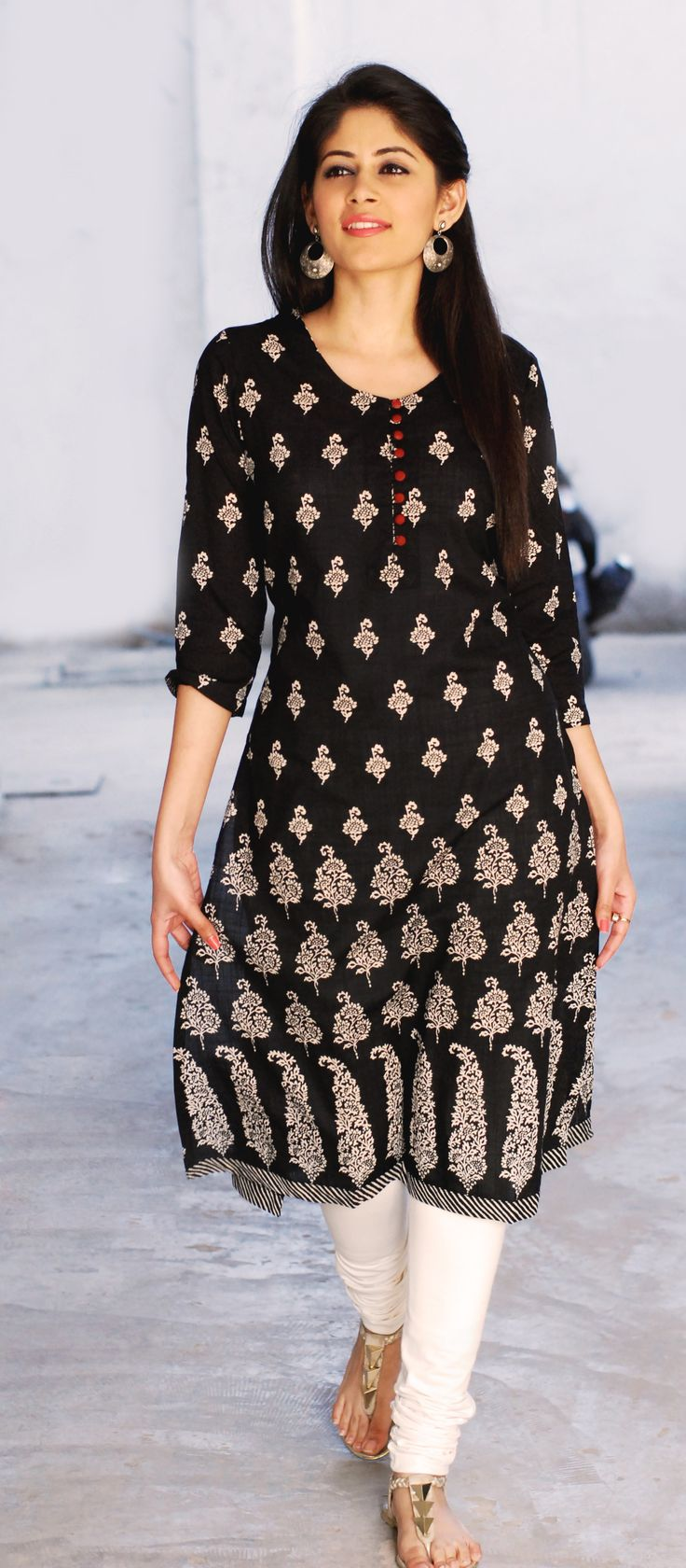 #black and #white, #printed #kurta