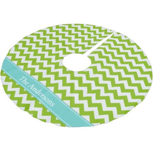 Lime and Light Aqua Chevron Pattern Brushed Polyester Tree Skirt