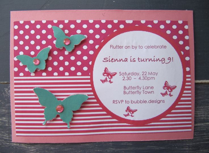 Handmade Butterfly Party Invitation