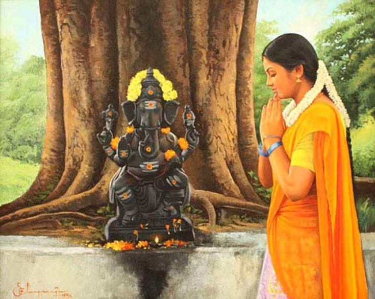 Tamil girl praying to Elephant god Pillaiyar under banyan tree - Painting by S. Elayaraja