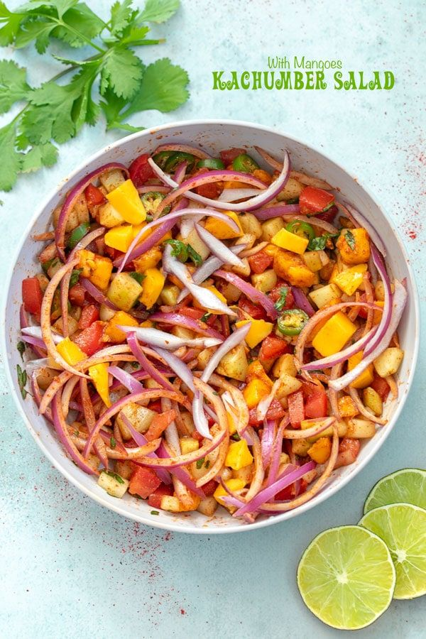 Closeup View Of A Light Gray Bowl With Kachumber Salad In It And Lime Slices On The Bot Vegetarian Salad Recipes Kachumber Salad Indian Food Recipes Vegetarian