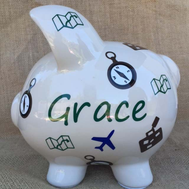 Travel Themed Piggy Bank - Large Piggy Bank by sketchedglass on Etsy