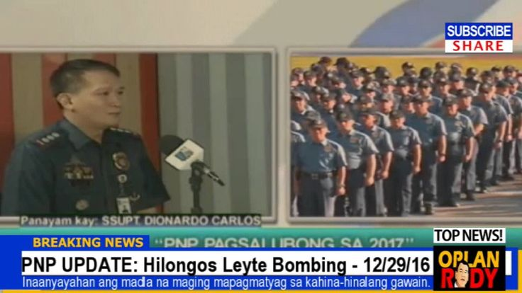 PAGSABOG SA LEYTE : PNP PRESS RELEASE - LATEST NEWS UPDATE (December 29, 2016) - WATCH VIDEO HERE -> http://dutertenewstoday.com/pagsabog-sa-leyte-pnp-press-release-latest-news-update-december-29-2016/   Welcome to my channel.  You are in a 'one-stop-news-channel'! NEWS TV is a place where you can find news updates and latest trends in the Philippines. We grab the best stuffs and reupload here.  What's new in politics, entertainment, culture, lifestyle, and Dut