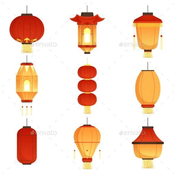 Asian Cartoon Lanterns Chinese And Chinatown Chinese Lights Asian Lamps Lantern Illustration