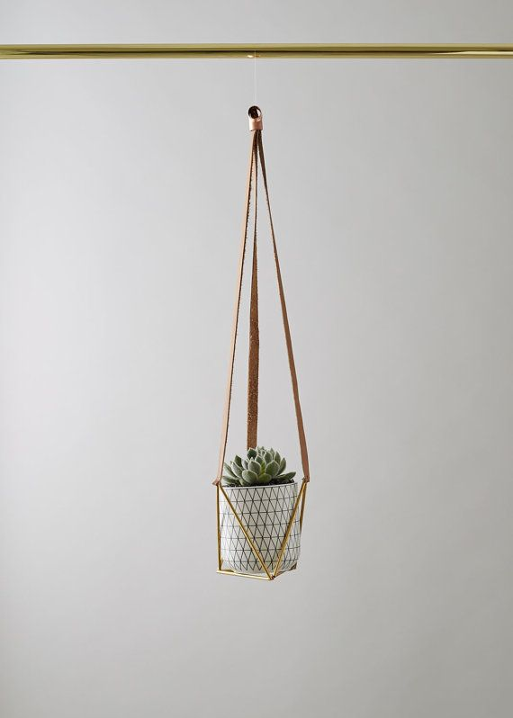 Leather & Brass Plant Hanger by geofleur on Etsy