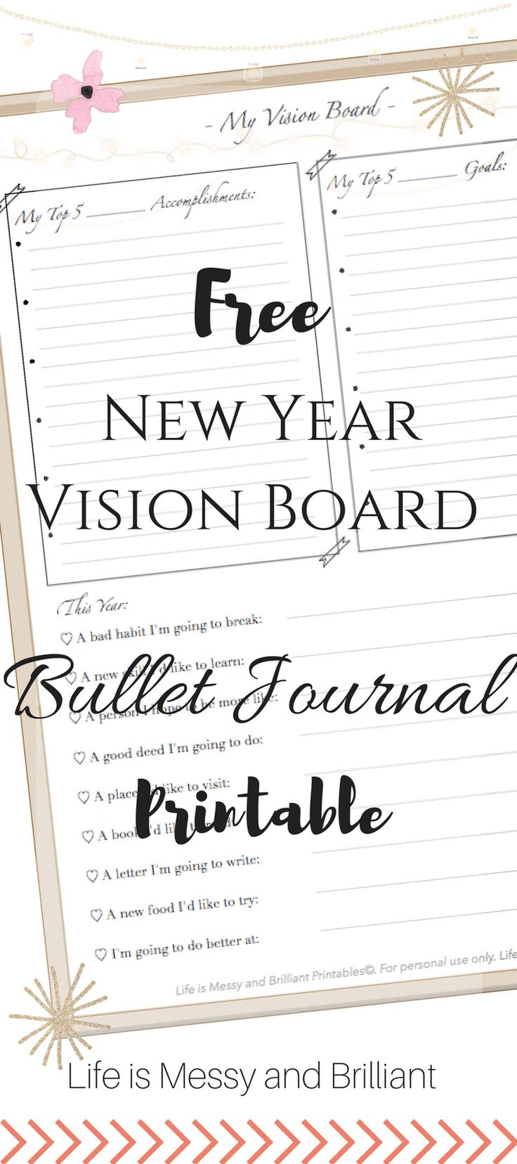 The dress journal of vision - Free New Year Vision Board Bullet Journal Printable