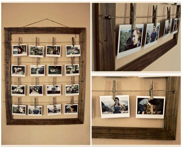 Clothespin Photo Display - 35 Fantastic Ways to Repurpose Old Picture Frames