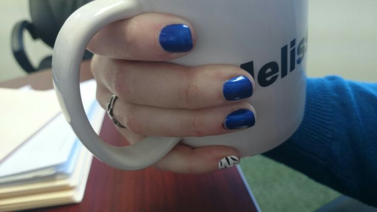 I love this shade of blue and the white and black pinky is supposed to just add a bit of a pop