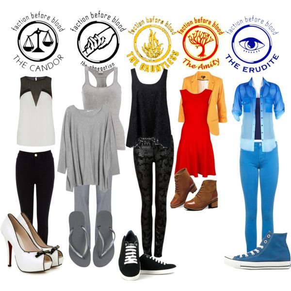 DIVERGENT...the only thing is that Abnegation probably wouldn't wear like flipflops and such! and Erudite might be a little more professional, but it is just for fun!