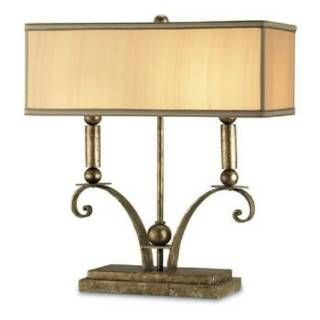 Check out the Currey and Company 6326 Windfall 1 Light Desk Lamp with Dark Beige Shades
