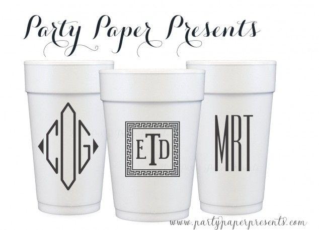 Monogrammed Foam Party Cups