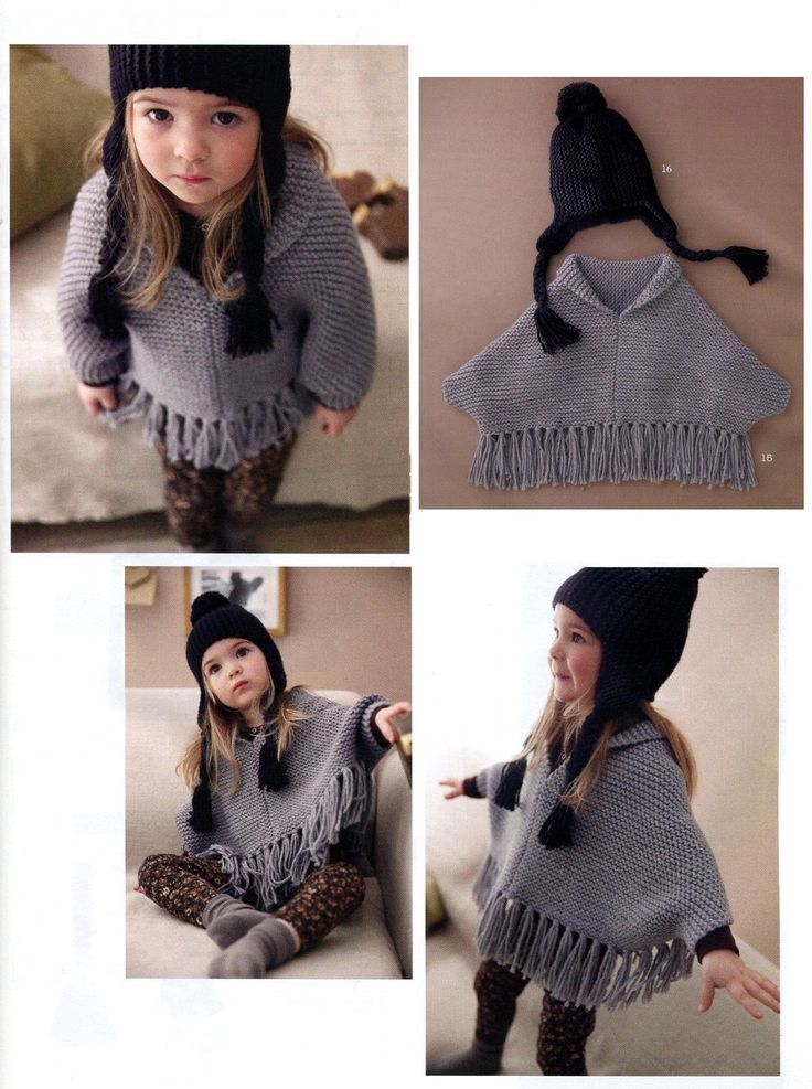 ENGLISH Easy Kid Poncho and Ear flap Hat Beginner Knitting Pattern PDF by AliceInCraftyland on Etsy https://www.etsy.com/listing/203281294/english-easy-kid-poncho-and-ear-flap-hat