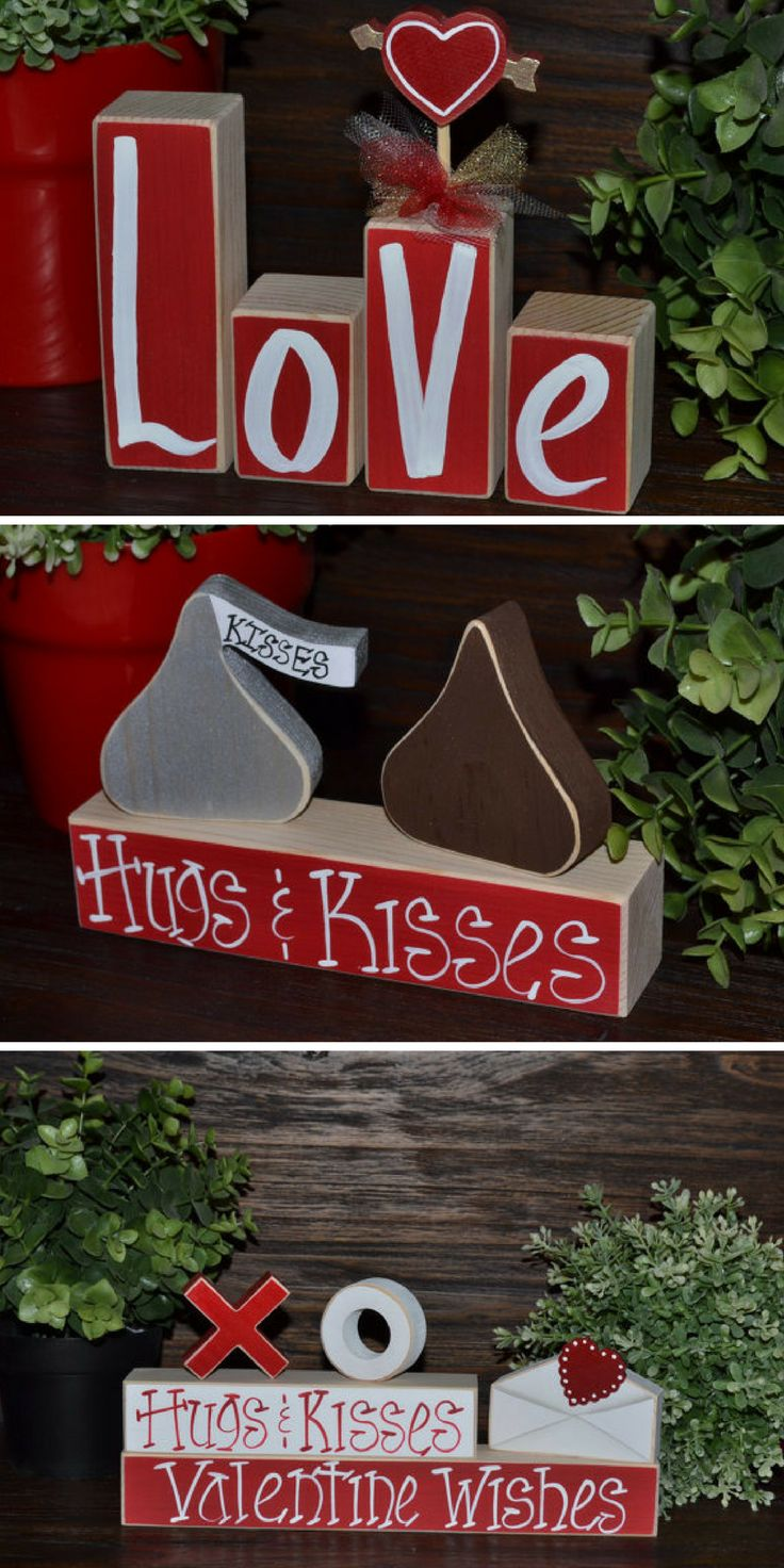 I love these cute Valentine's Day Blocks. #love #valentinesday #ad #hugsandkisses #love #red #blocks #wood #holidaydecor #wishes