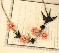 Bs1981 мода старинные ласточка резные горный хрусталь ожерелье для женщин дизайн цветение персика прекрасный шарм ожерелье оптовая продажа