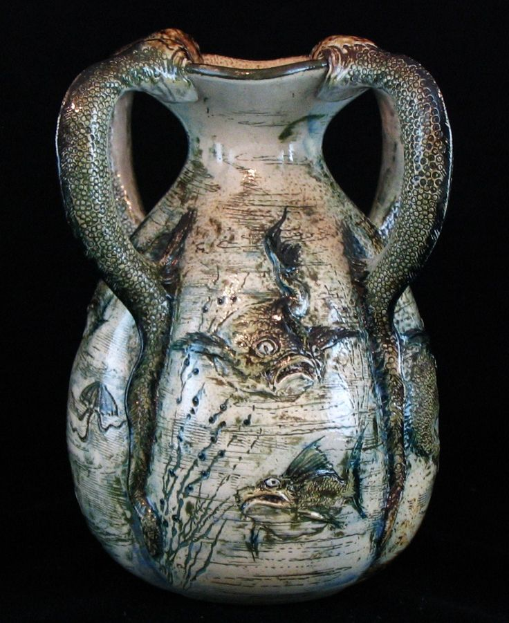 Martin Brothers vase decorated with grotesque and comical fish. Alison Davey has become one of the leading ceramics dealers in Britain but her career began ...