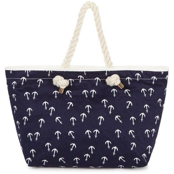 Anchor Print Beach Bag ($14) ❤ liked on Polyvore featuring bags, handbags, beach tote bags, special occasion handbags, nautical purse, blue purse and evening purse