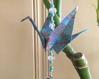 Love Origami paper crane car charm gift ornament first