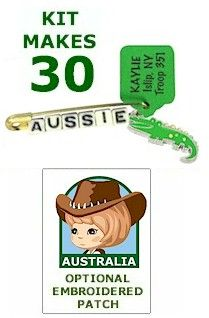 View Aussie Crocodile SWAP Kit This is to buy a kit. But I can see if I see anything at Michael's that would work similarly. Some sort of little charm. We could put it on a pin with red/white/blue beads.