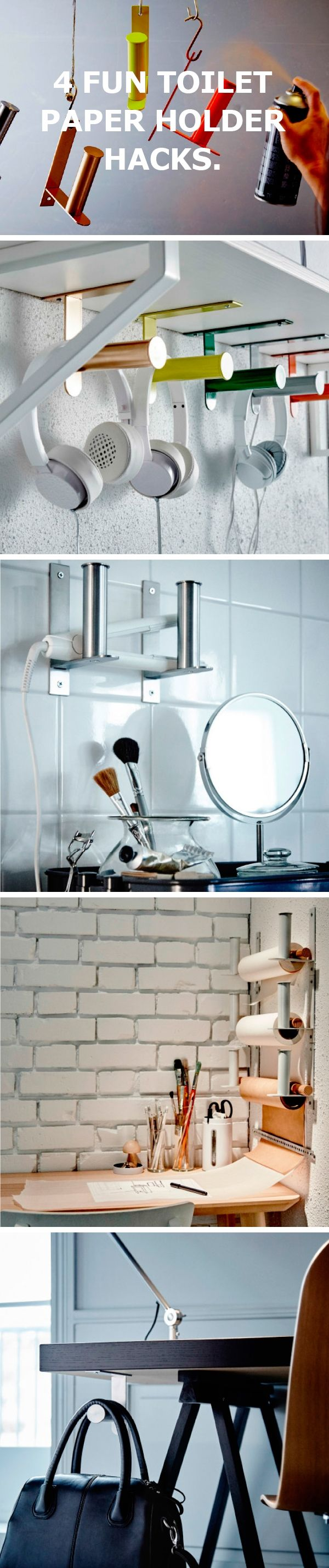 Here are 4 fun toilet paper holder hacks.
