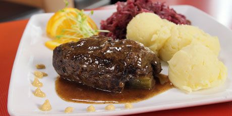 Rouladen is a dish of meat, in this case beef sirloin, covered in bacon, dredged in herb and spice flour mixture, braised for a couple of hours and served up with a horseradish Dijon mustard.