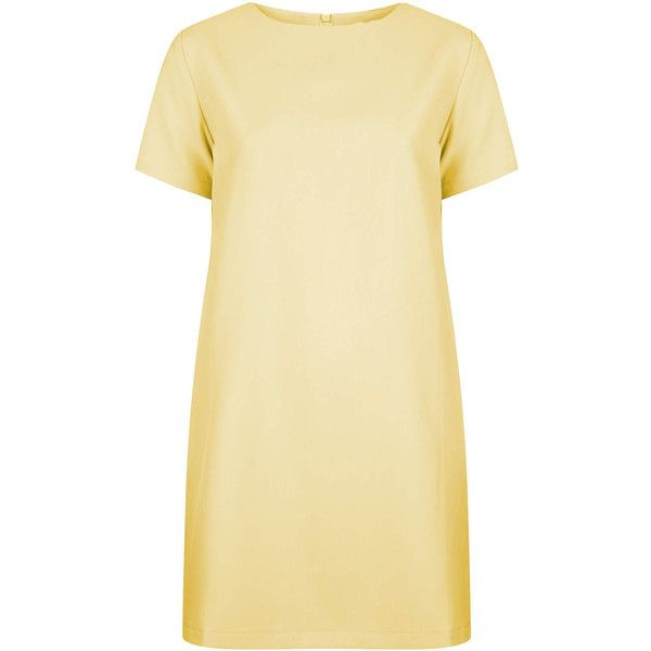 TOPSHOP **Simple Shift Dress by The Whitepepper ($63) ❤ liked on Polyvore featuring dresses, vestidos, topshop, yellow, sleeved dresses, beige shift dress, beige short dress, yellow dresses and short dresses