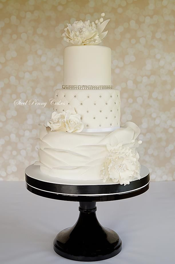 White Vintage Floral Wedding Cake with Silver Pearl Details