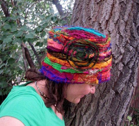 Recycled Silk Sari Pixie Hat