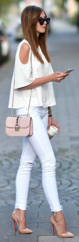 Barbora Ondrackova + striking style + white jeans + shoulderless top + bell sleeve detailing + pair of nude heels + nude accessories.   Blouse: Topshop, Jeans: Mango, Heels: Christian Louboutin, Bag: Valentino.