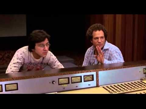 Robert (Albert Brooks) and Jay (Bruno Kirby) in the re-recording suite for their film, a cheesy sci-fi movie. Typical film mix stuff... NOTE: No copyright in...