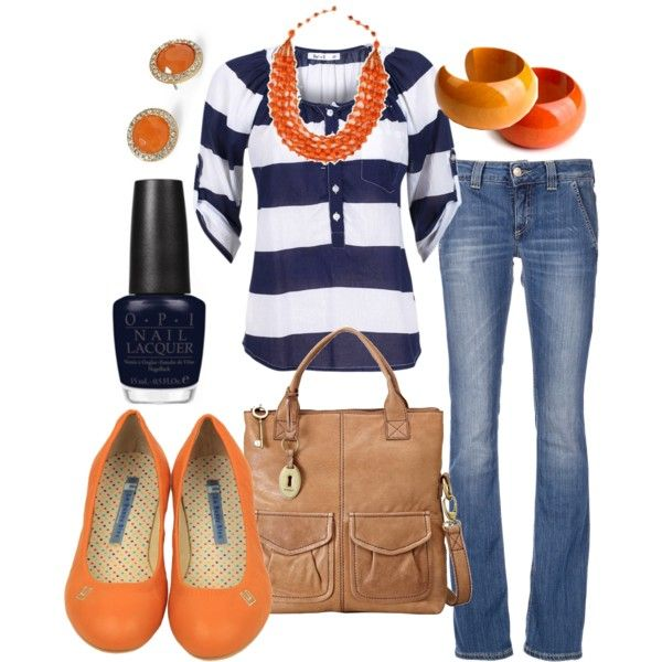 orange & navy, created by htotheb on Polyvore