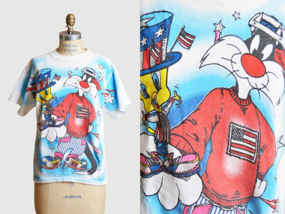 Vintage 90s Looney Toons Shirt Sylvester and Tweety Patriot Stars and Stripes Graphic TShirt Cartoon T Shirt 1990s American Flag 4th of July