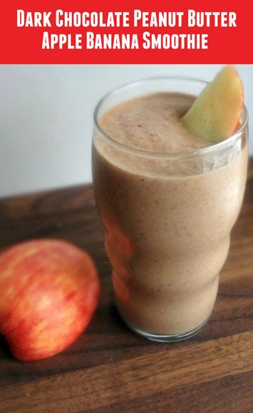Fruity and sweet, this smoothie is reminiscent of the flavors of chocolate fondue. A thick, refreshing drink with decadent flavors of chocolate and peanut butter and a healthy boost from the banana and apple. And, bonus, there is added protein via the Greek yogurt and peanut butter! It's the perfect way to start your day or your work-out!