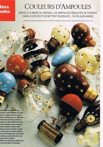 boules de Noël avec des ampoules usagées !