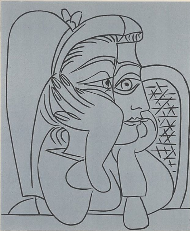 By Pablo Picasso, 1959, Jacqueline with a necklace leaning on her elbow, Linoleum cut.