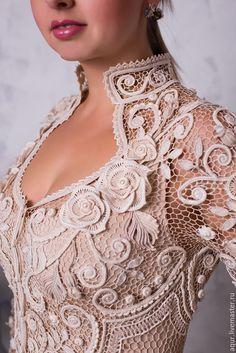 """Купить Винтажный кафтан """"Сувенир"""" - белый, цветочный, кардиган ручной работы, ирландское кружево"""