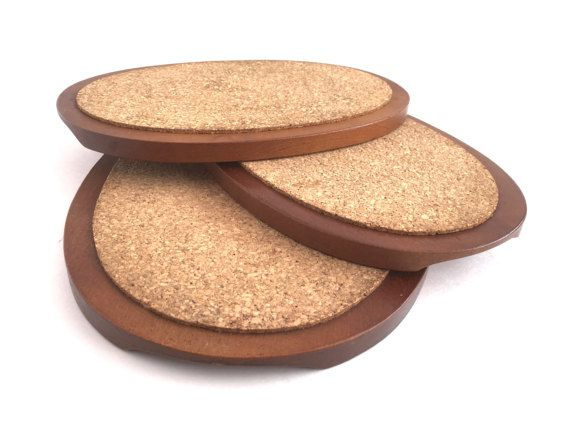 Mid Century Modern Trivets Oval Wood Cork Hot Pads Sweden Trio