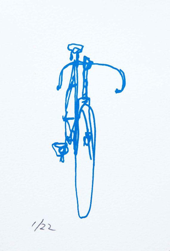 Bike Art Print - Classic Frejus Track Bicycle - Blue