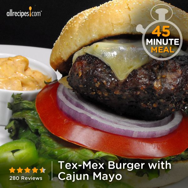 """Tex-Mex Burger with Cajun Mayo 