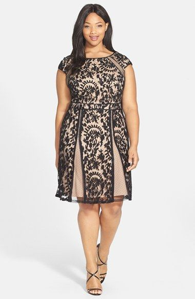 Free shipping and returns on Adrianna Papell Net Inset Lace Fit & Flare Dress (Plus Size) at Nordstrom.com. Absolutely charming. Delicate dotted-net insets frame the fitted bodice and flare the A-line skirt of an ethereal lace dress popped with pale contrast. Dainty cap sleeves top off the style and polished satin trim provides elegant definition.