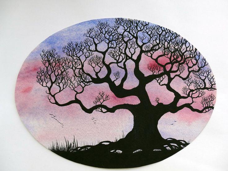 Watercolor shillouette tree, black oak tree on a blue violett background, original aquarelle by IlseHviid on Etsy